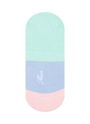 Mavi Blok Renkli Babet Çorabı Mavi